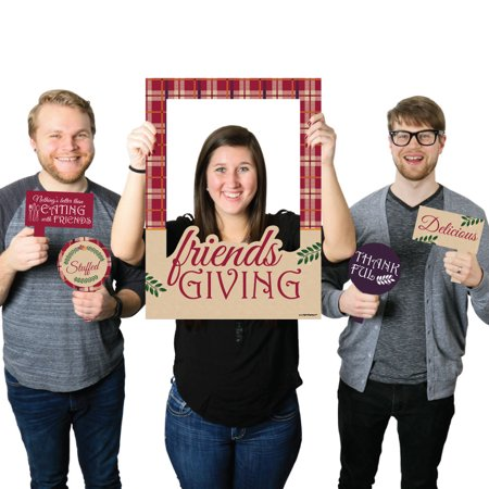 Friends Thanksgiving Feast - Friendsgiving Selfie Photo Booth Picture Frame & Props - Printed on Sturdy - Thanksgiving Frames