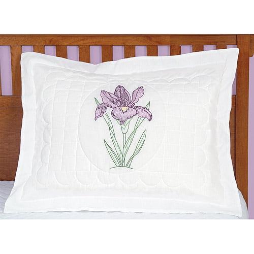 Jack Dempsey Stamped Standard Pillow Sham 1/Pkg-Iris