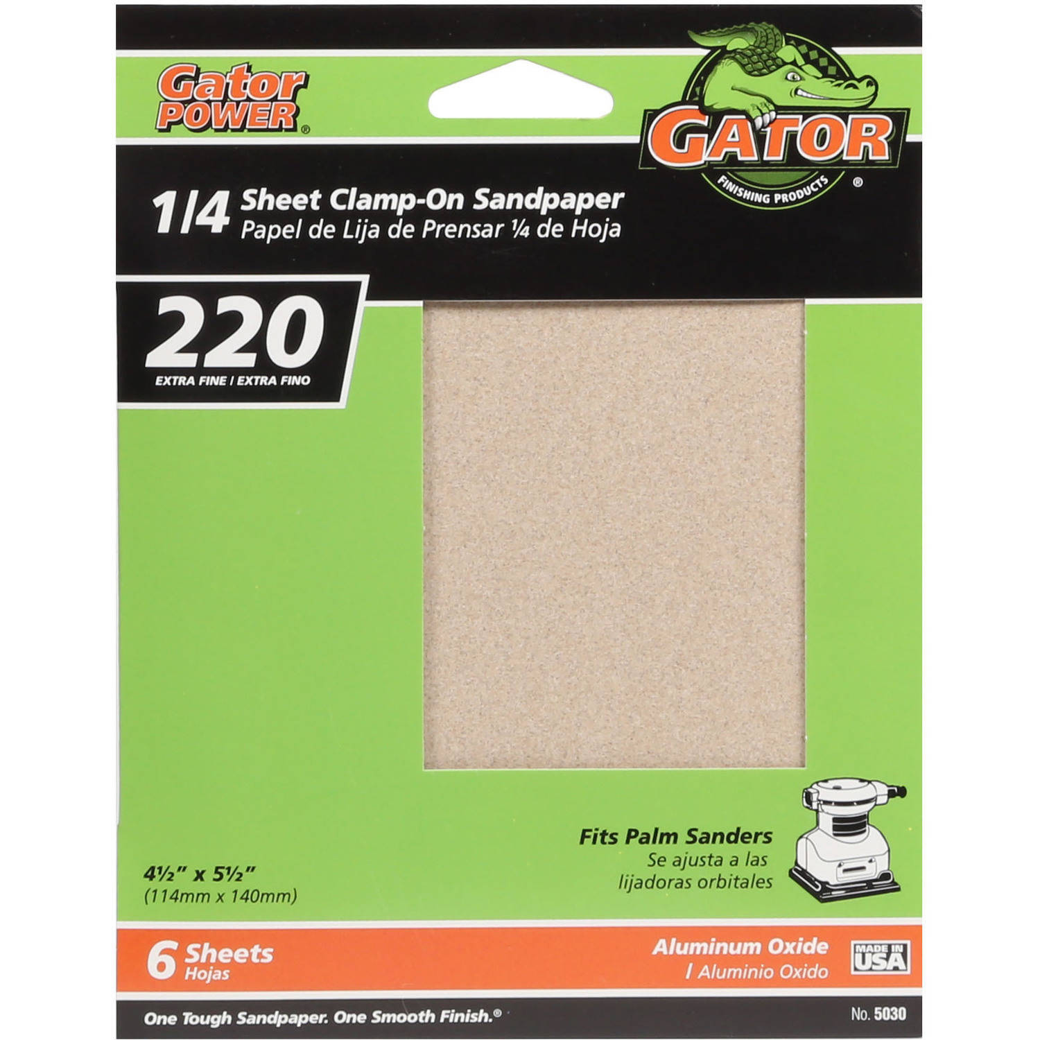 "Gator Grit 4.5"" x 5.5"" 1/4 Sheet Clamp-On Sandpaper, 220G, 6pk"