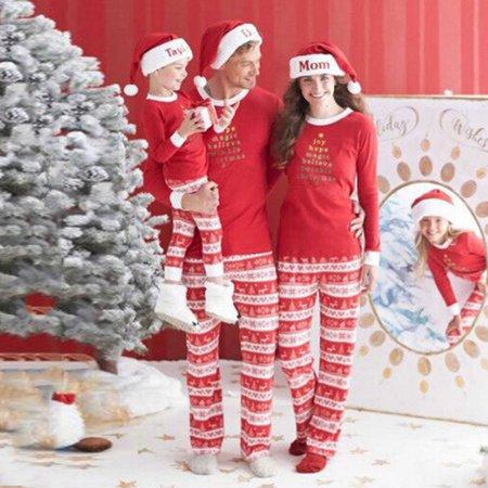 Wllw Children Adult Family Matching Christmas Family Pajamas Set