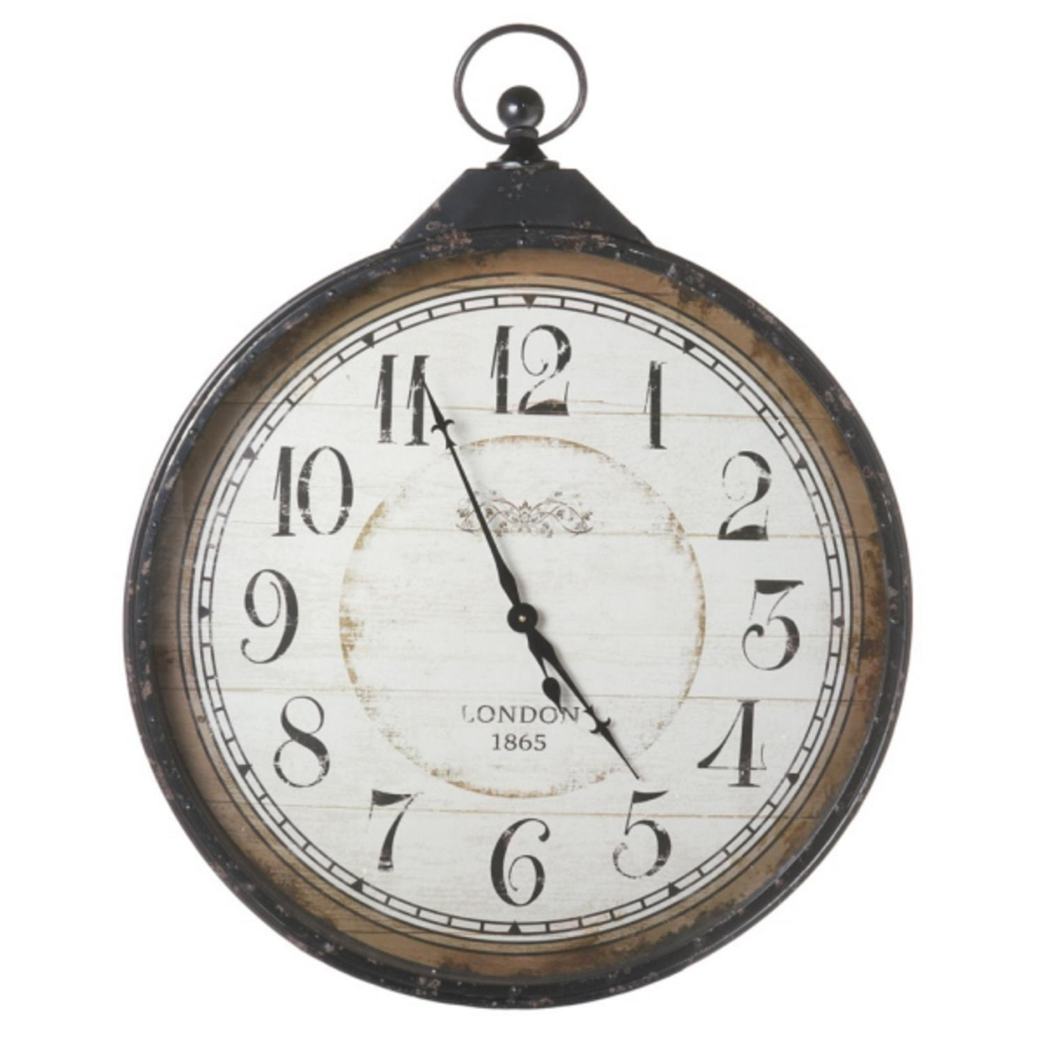 "40.75"" Extra Large Distressed Antique-Style Black Pocket Watch Wall Clock"