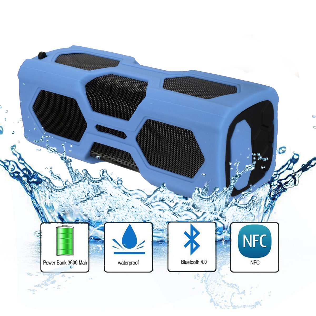 2 in1 3600mAh Power Bank Portable Wireless Bluetooth Speaker V4.2 Waterproof NFC