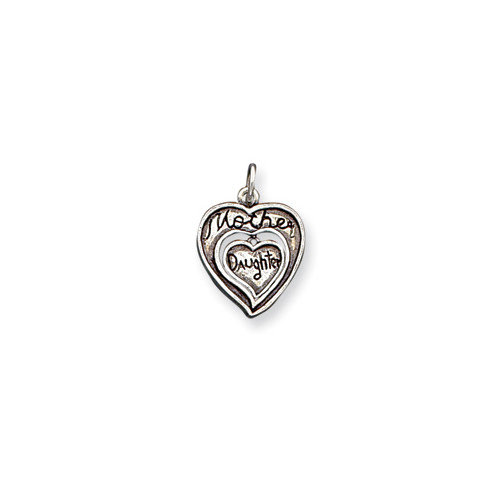 Jewelryweb Sterling Silver Antique Mother and Daughter Charm