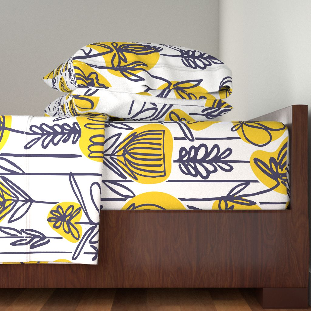 Yellow And Navy Leaf Pattern Watercolor 100% Cotton Sateen Sheet Set by Roostery