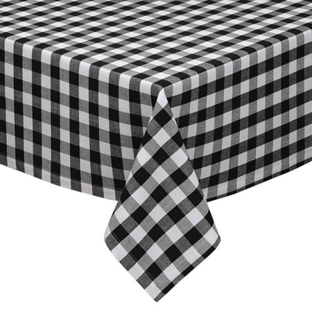 Black And White Checkered Tablecloth (Black and White Cotton Rich Checkered Kitchen/Dining Room Tablecloth: Gingham/Plaid)