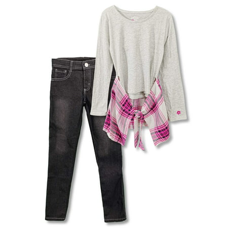 Plaid Hem 2-Fer Top and Jean, 2-Piece Outfit Set (Big Girls) - Colonial Outfits