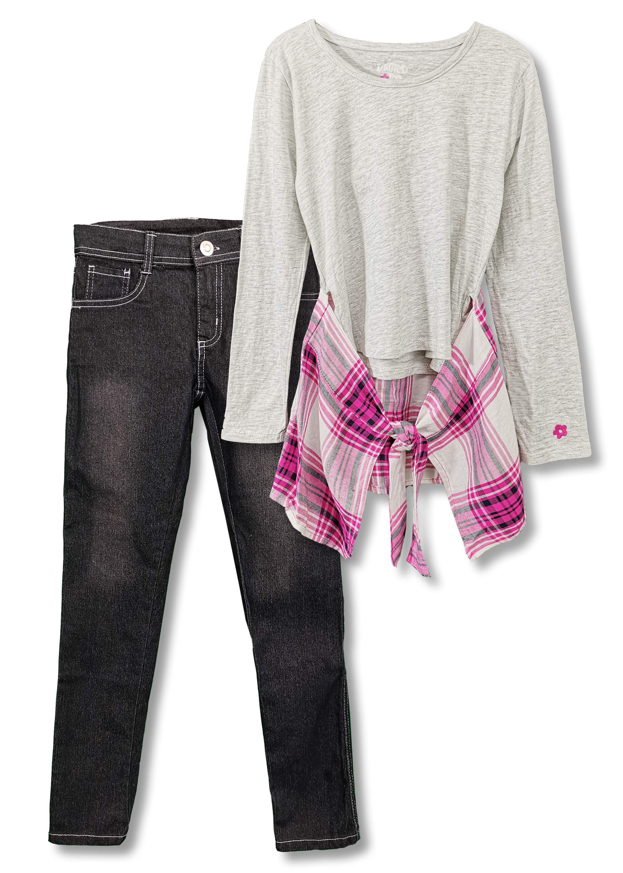 Plaid Hem 2-Fer Top and Jean, 2-Piece Outfit Set (Big Girls)