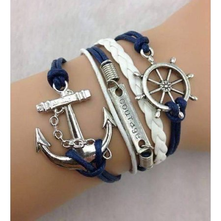 CLEARANCE - Smooth Sailing Handmade Leather Friendship Bracelet Blue & White for $<!---->