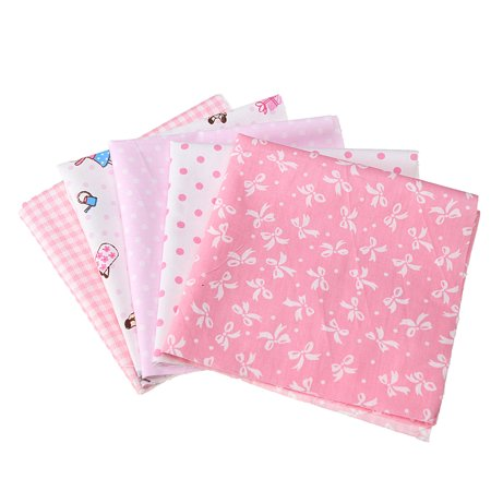 5PCS Assorted Sewing Pink Pre Cut DIY Handmade Charm Squares Quilt Cotton Fabric