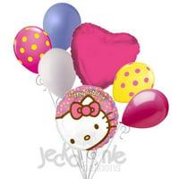 7 pc Hello Kitty Happy Birthday Face Balloon Bouquet Decoration Savario Hot Pink