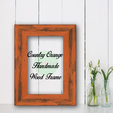 Country Orange Cottage Beach Decor Wood Frame Perfect for Picture Photo Poster Wedding Art Artwork (Picture Framing Boynton Beach)