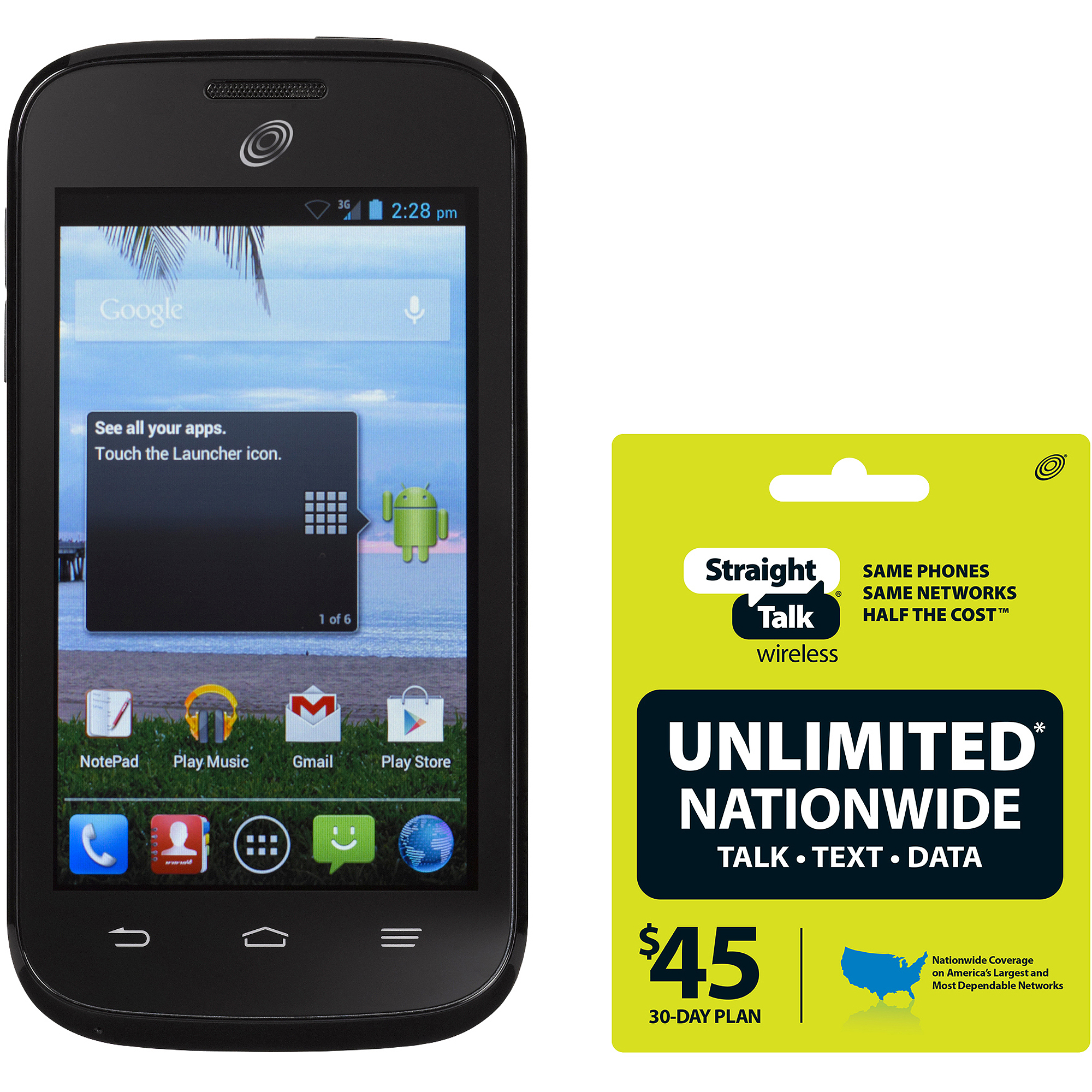 Straight Talk Huawei Ascend Plus H881C Refurbished Prepaid Smartphone w/ Bonus $45 Unlimited Plan