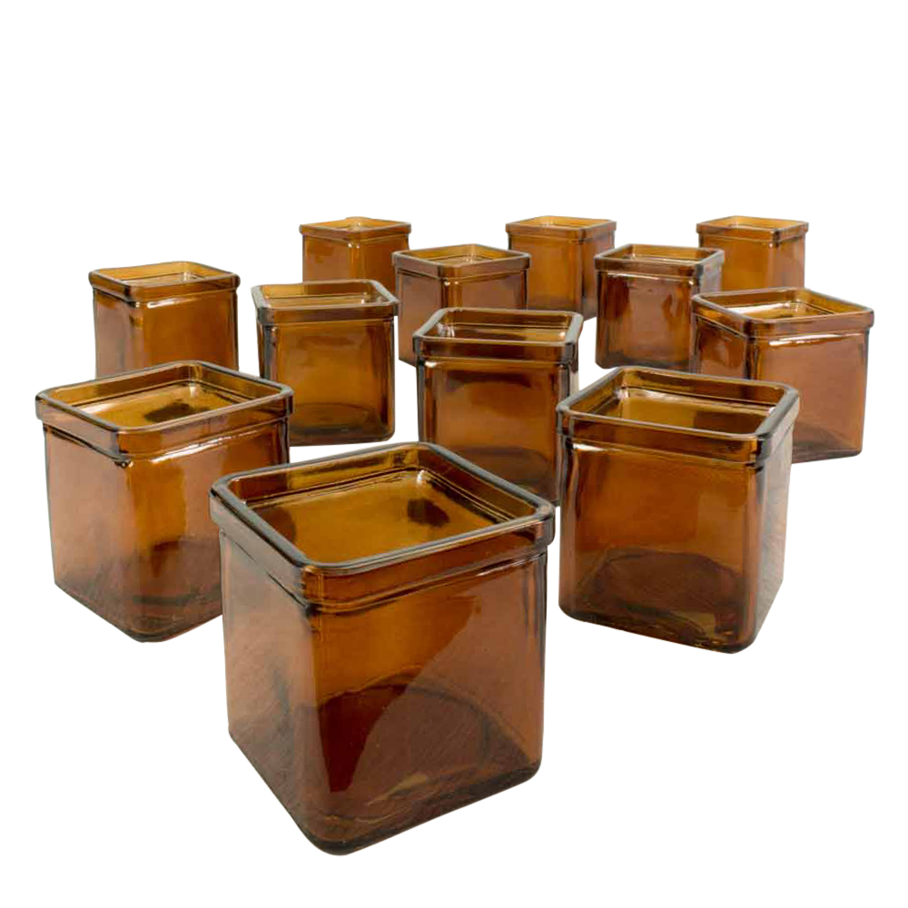 "3"" 8.5 oz Food Safe Square Glass Jars, Candle Holders, Da..."