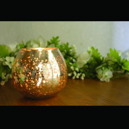 Amber Home Goods ANC-809 Champagne Collection Glass Round Antique Silver Votive