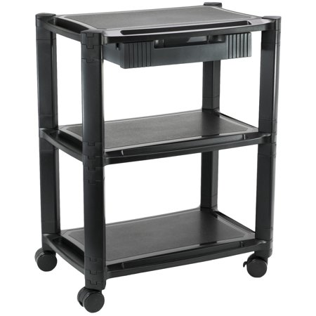 Vivo Height Adjustable Mobile Computer Cart Smart Stacked Rolling Stand And Storage Drawer  Cart V00b