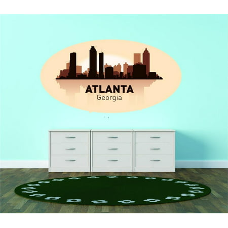 Custom City Wall Map - Custom Wall Decal Atlanta Georgia United States Major City Geographical Map Landmark - Vinyl Wall - 12x20