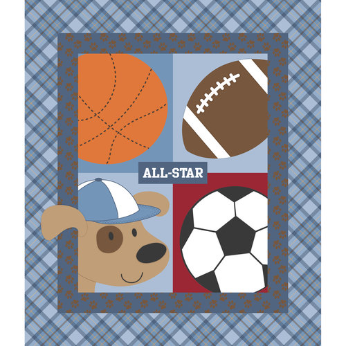 "Springs Creative Nursery Little Allstar Quilt-Top 43"" Width Fabric by the Yard"