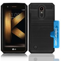 LG K10 2017 / M250 / LV5 / K20 Plus Slim PC Metal Brushed Protective Credit Card Slot