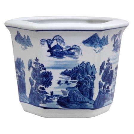 Oriental Furniture Blue & White Landscape Porcelain Flower Pot - Porcelain Pots