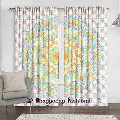 Ombre Mandala Window Curtains Indian Drape Balcony Room Decor Curtain Boho Set Ethnic... by