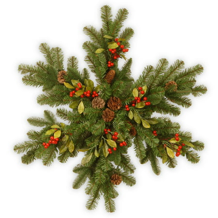 National Tree 30 Decorative Collection Snowflake with Red Berries, Cones and Leaves with 35 Warm White Battery-Operated LED Lights with Timer
