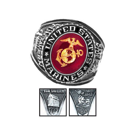 Official US Marines Deluxe Engraved Silver Color Ring ()