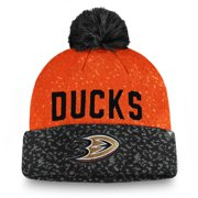 Anaheim Ducks Fanatics Branded Fan Weave Cuffed Knit Hat with Pom - Black/Orange - OSFA