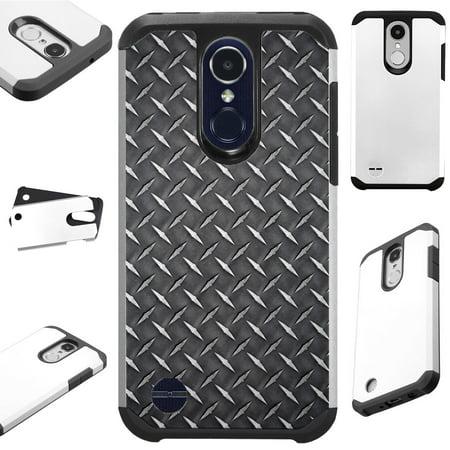 For LG Rebel 4 | LG Rebel 3 Case Hybrid TPU Fusion Phone Cover (Black Metal Crosshatch Print)