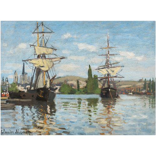 "Trademark Fine Art ""Ships Riding On the Seine"" Canvas Art by Claude Monet"