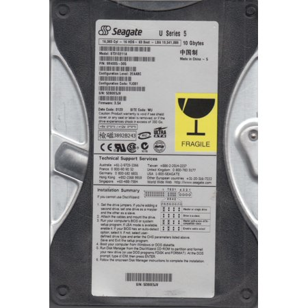 ST310211A, 5DB, WU, PN 9R4005-305, FW 3.54, Seagate 10GB IDE 3.5 Hard Drive