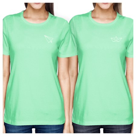 Round Origami (Origami Plane And Boat Mint Best Friend Matching Shirts Round Neck)