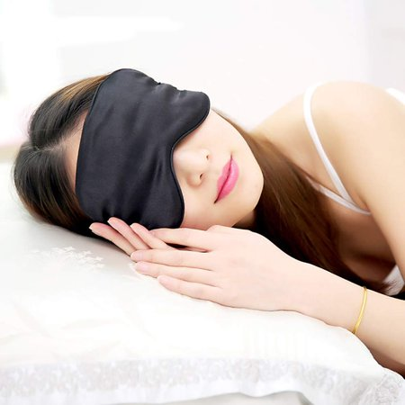 GLiving Silk Sleep Mask for A Full Night's Sleep Lightweight Comfortable & Super Soft Eye Mask with Adjustable Strap Works with Every Nap Position Ultimate Sleeping Aid/Blindfold, Blocks (Comfortable Positions To Sleep In A Car)