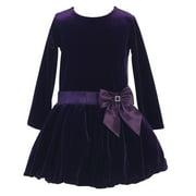 Little Girls Purple Stretch Velvet Bow Accent Bubble Occasion Dress 2T-6