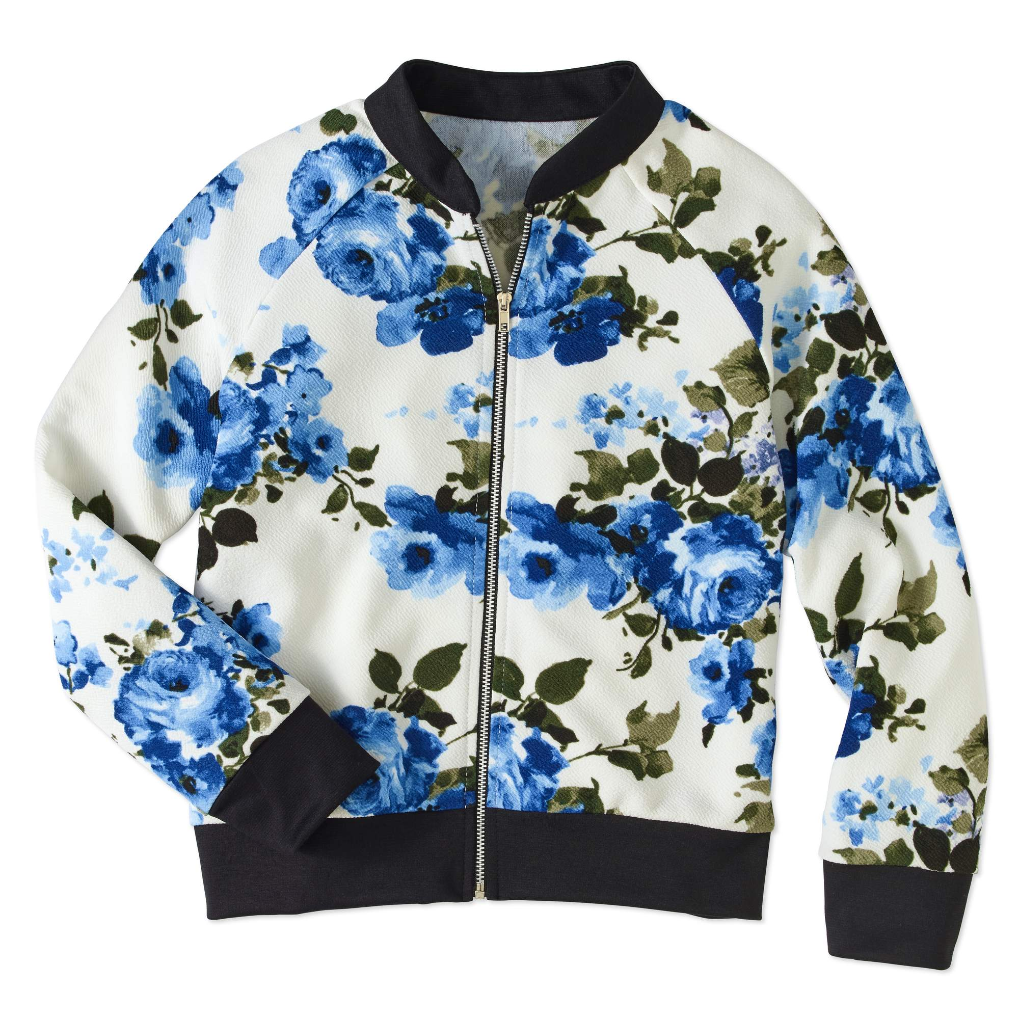 Girls' 7-16 Floral Print Bomber Jacket