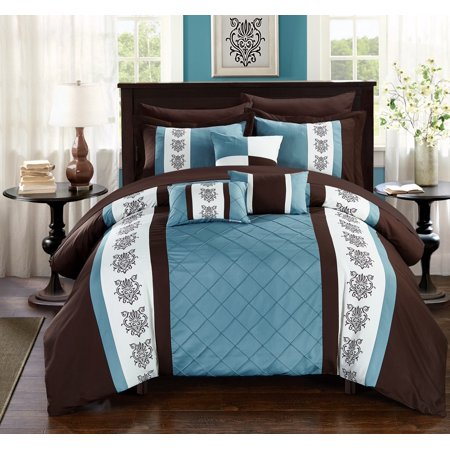 Chic Home 10-Piece Dalton Pin tuck-Pieced Color Block Embroidery King Bed In a Bag Comforter Set Brown With sheet set (Brown Bed Comforter Set)