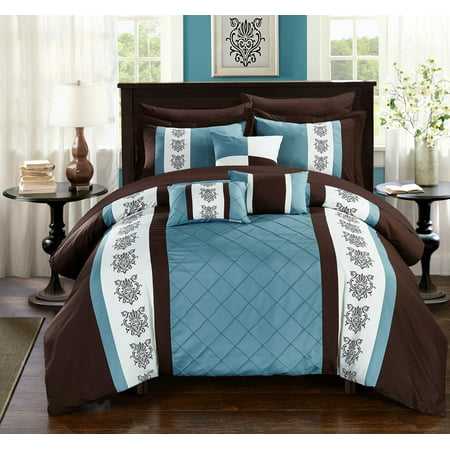 10-Piece Dalton Pin tuck-Pieced Color Block Embroidery King Bed In a Bag Comforter Set Brown With sheet set