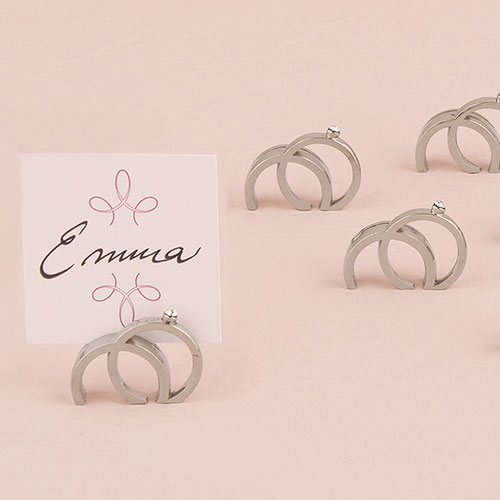 Wedding Star 9132 Double Rings with Crystal Place Card Holder in Shiny Silver Finish