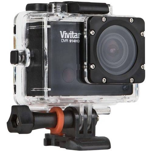 "Vivitar DVR914HD-BLK-PR Black Action Camcorder, 2"" LCD and Waterproof Capabilities"