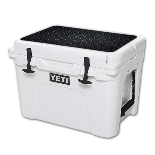 MightySkins Protective Vinyl Skin Decal for YETI Tundra 35 qt Cooler Lid wrap cover sticker skins Black Diamond Plate