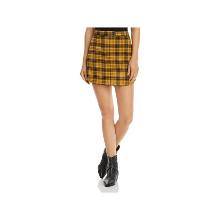 BB Dakota Womens Woven Plaid Mini Skirt