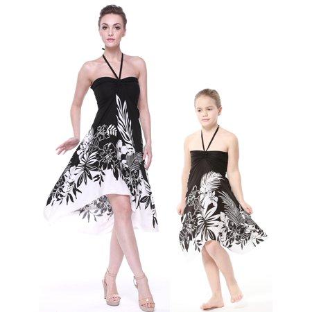 Matching Hawaiian Luau Mother Daughter Butterfly Dress in Black Indri S-2](Luau Dress)