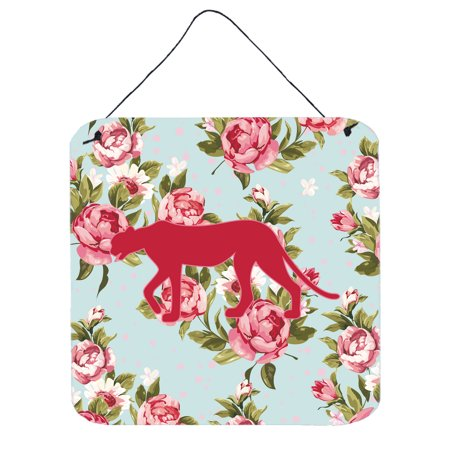 Leopard Roses - Leopard Shabby Chic Blue Roses Wall or Door Hanging Prints BB1004