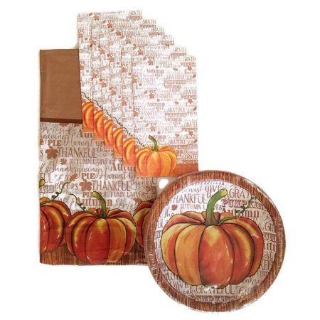 Thanksgiving Pumpkin Fall Harvest Party Supplies Paper Plate and Napkin Bundle Set of 3 Includes Dinner Plates, Luncheon Napkins and a Tablecloth- Service for 14](Thanksgiving Plates And Napkins)
