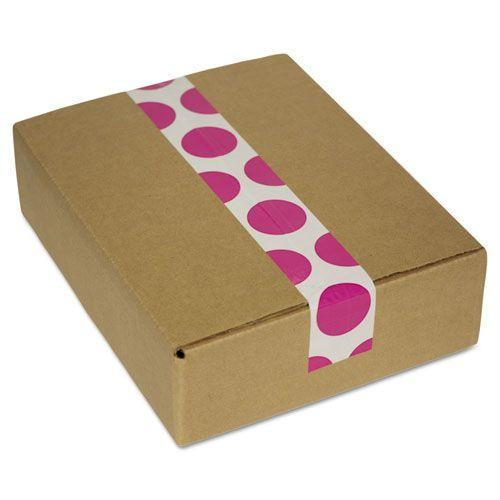 "Decorative Tape, 1.88"" x 500"", 2.5"" Core, White/Pink Polka Dot Pattern"