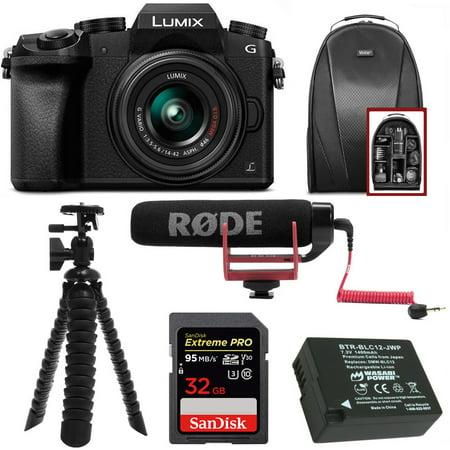 Panasonic LUMIX G7 Camera w/ 14-42mm Lens (Black) + RODE VideoMic GO + Accessory Bundle (Panasonic Lumix Gh4 Accessories)