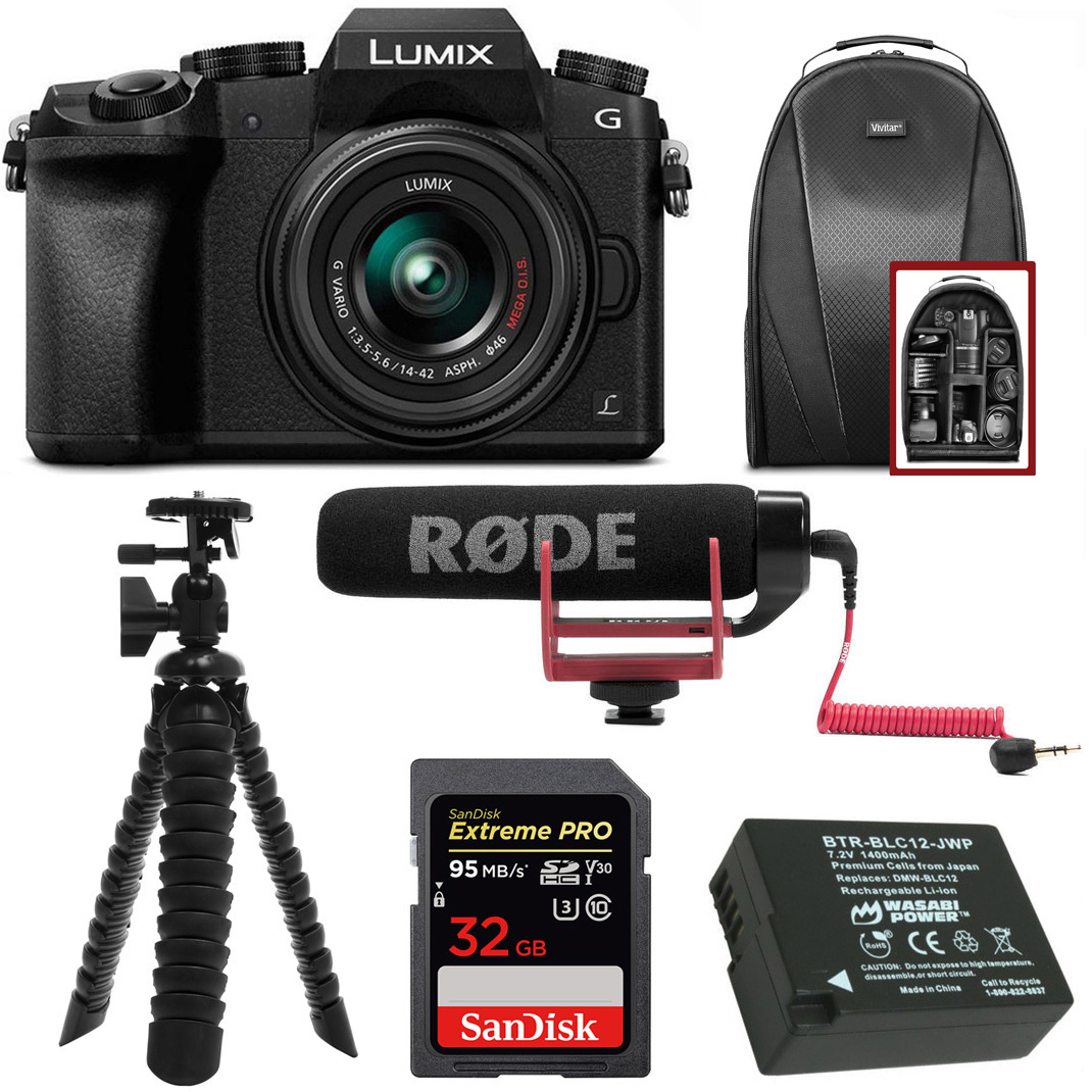 Panasonic LUMIX G7 Camera w/ 14-42mm Lens (Black) + RODE VideoMic GO + Accessory Bundle