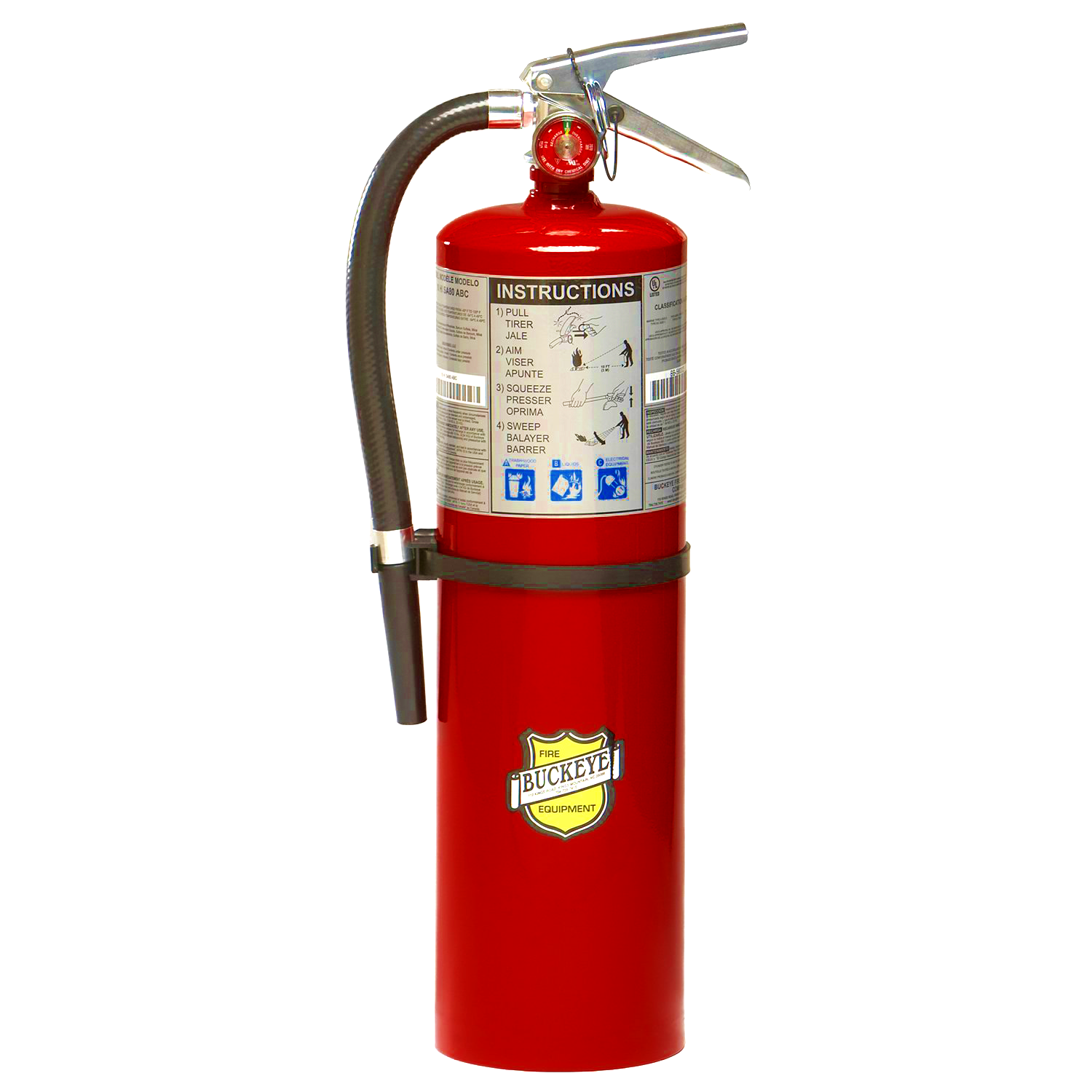 Buckeye, Fire Extinguisher, 10lb ABC Fire Extinguisher, Multipurpose Dry Chemical, Industrial, Commercial Fire Extinguisher, Aluminum Valve, Wall Bracket, 11340, Monthly Record Tag