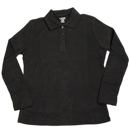 French Toast School Uniform Big Girls Plus Size Long Sleeve Interlock Polo Shirt, 33666 Black / (Red Plaid School Girl)