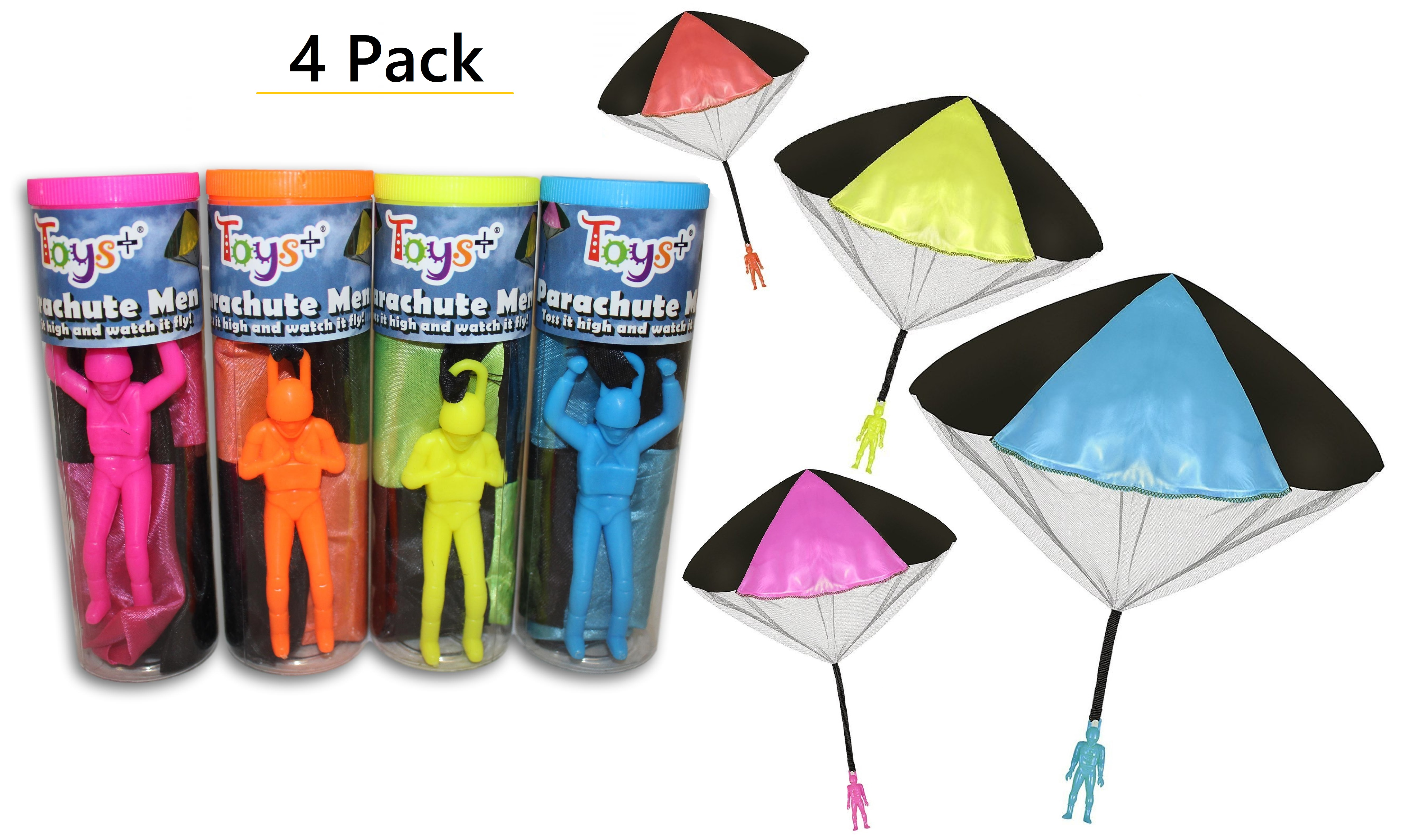 """3Pack Tangle Free Light Up Toy Parachute Man with Large 20/"""" Parachutes!"""