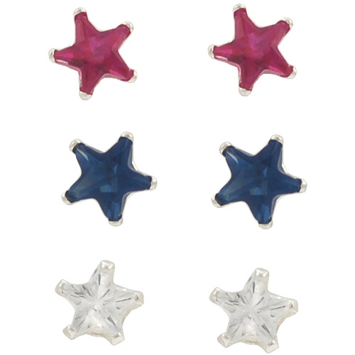 Brinley Co. CZ Sterling Silver 4mm Star Earrings Set, 3 Pairs